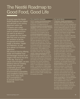 The Nestlé Roadmap to Good Food, Good Life