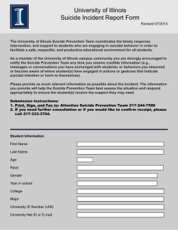 University of Illinois Suicide Incident Report Form