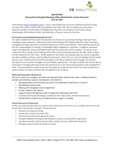 JOB POSTING Finance/Accounting/Bookkeeping