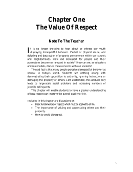 Int-Respect-Chap 1 - The Peaceful Solution Character Education