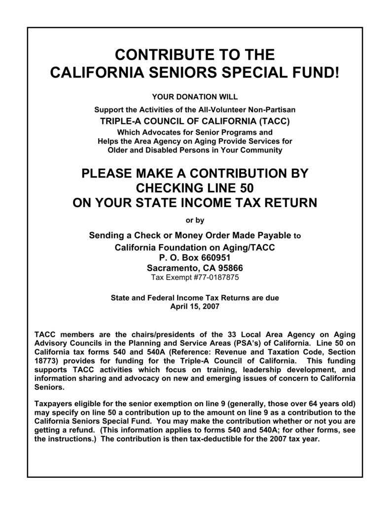 Contribute To The California Seniors Special Fund! - Triple