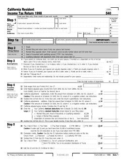 1998 Form 540 - California Resident Income Tax Return