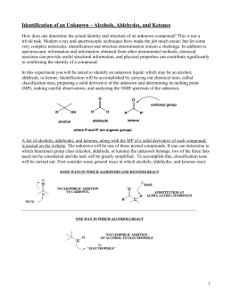 identification of unknown ketone Aldehyde or ketone standards cyclohexanone, benzophenone, and benzaldehyde procedure add a solution of 1 or 2 drops or 30 mg of unknown in 2 ml of 95% ethanol to 3 ml of 2,4-dinitrophenylhydrazine reagent shake vigorously, and, if no precipitate forms immediately, allow the.