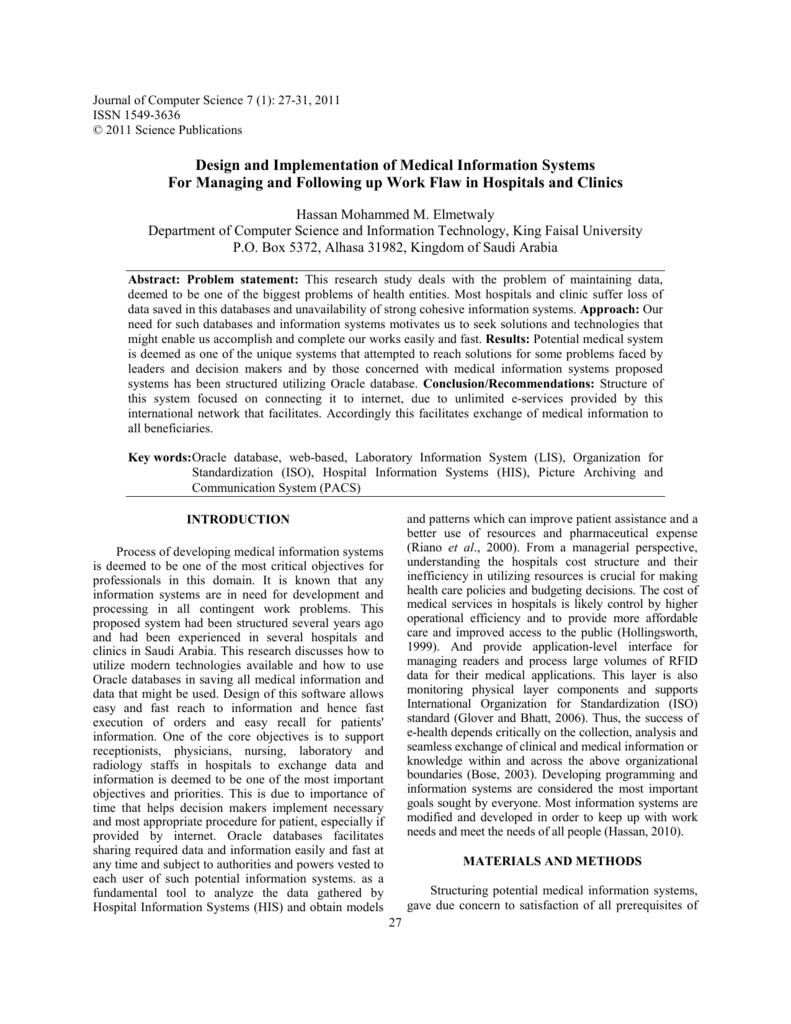 Design and Implementation of Medical Information