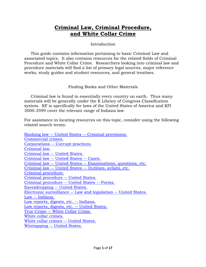 white collar crime topics
