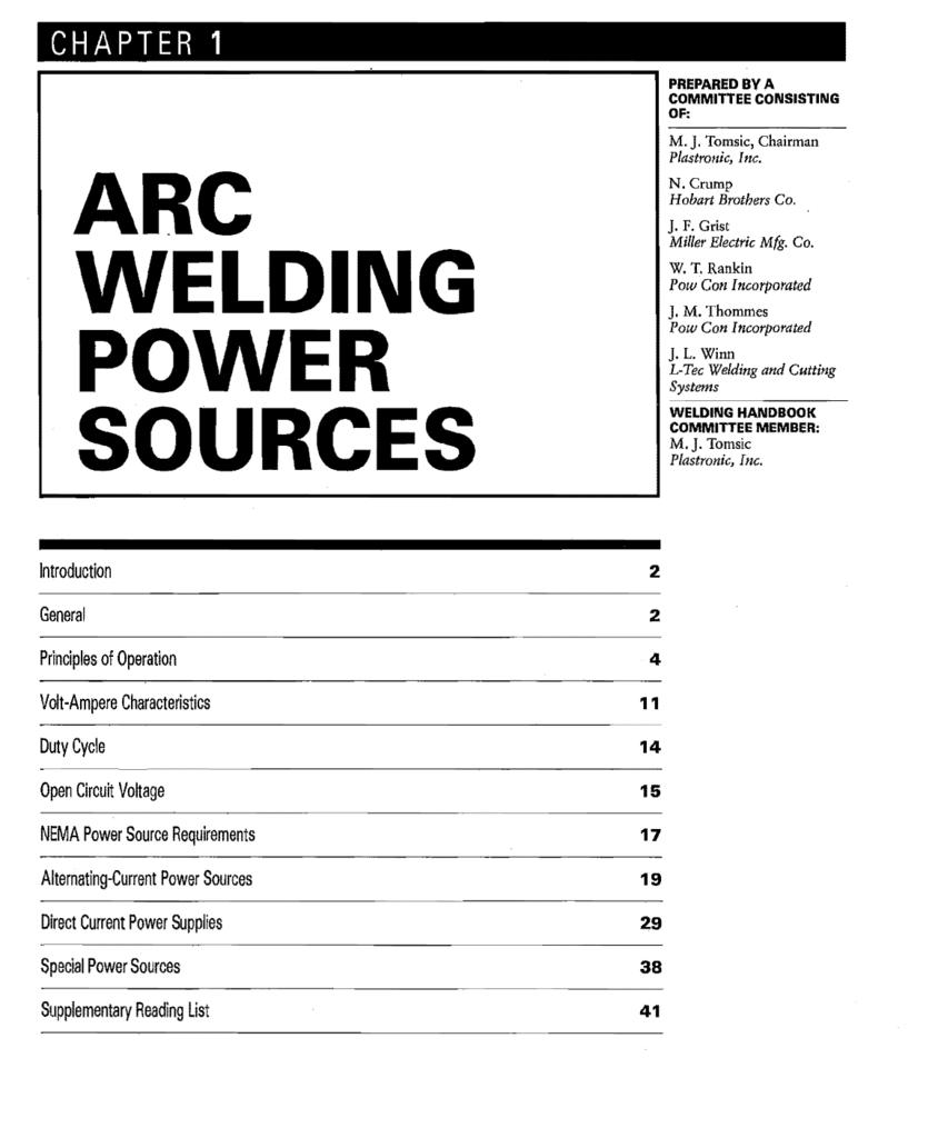 Arc Welding Power Sources