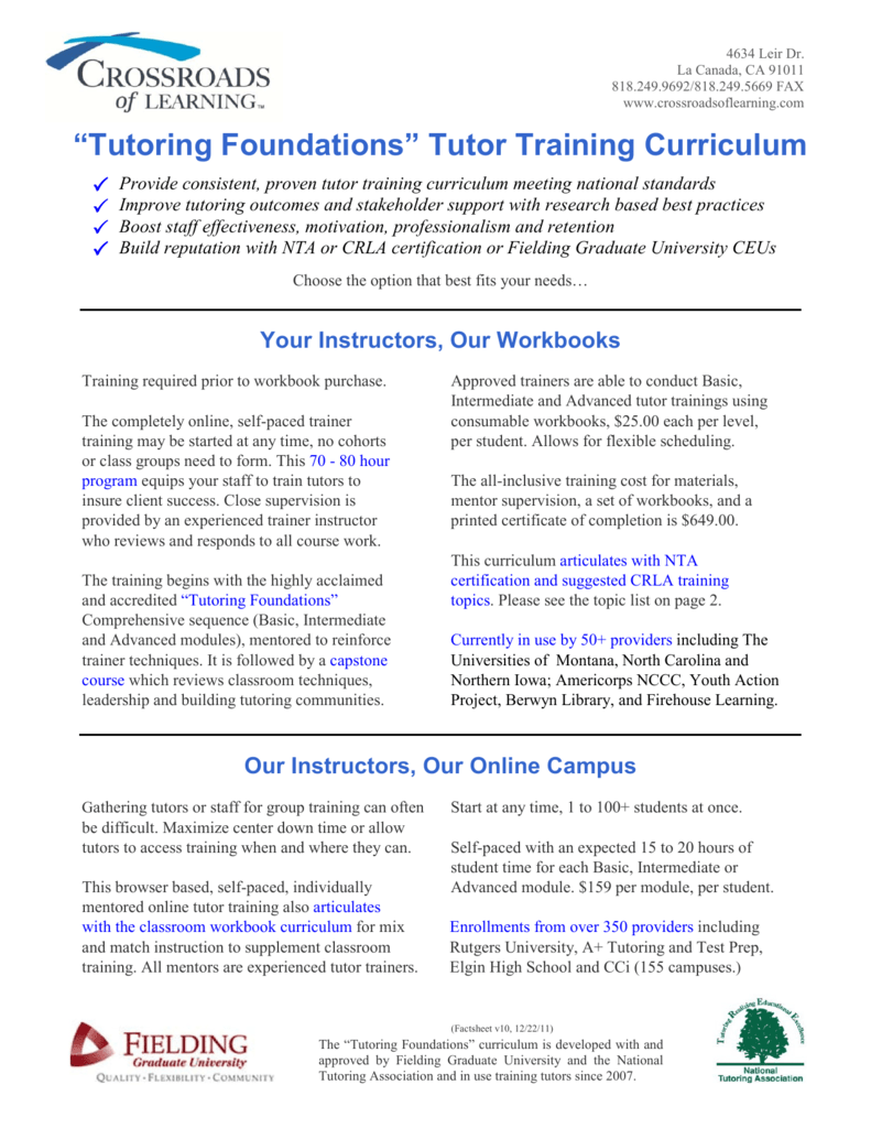 Tutoring Foundations Fact Sheet