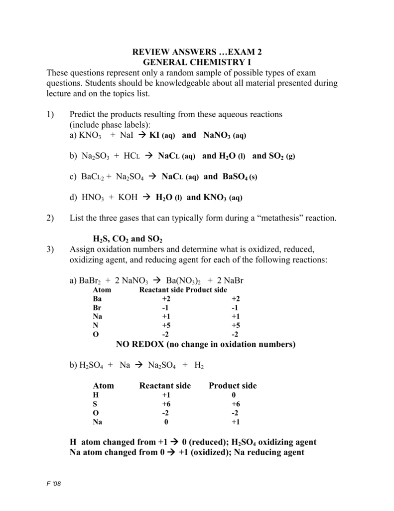 REVIEW ANSWERS …EXAM 2 GENERAL CHEMISTRY I These