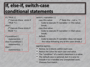 If, else-if, switch-case conditional statements