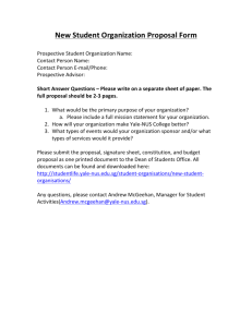 New Student Organization Proposal Form - Student Life - Yale