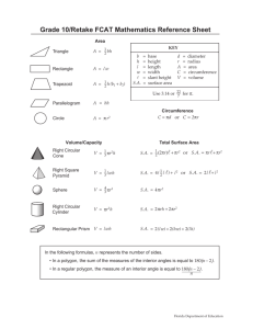 Grade 10/Retake FCAT 2.0 Mathematics Reference Sheet