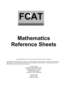 Mathematics Reference Sheets