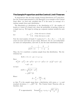 The Sample Proportion and the Central Limit Theorem