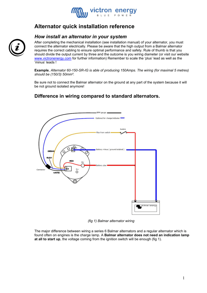 alternator quick installation reference how install an alternator in your  system after completing the mechanical installation (see installation manual)  of