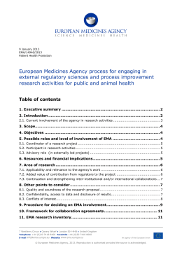 European Medicines Agency process for engaging in external
