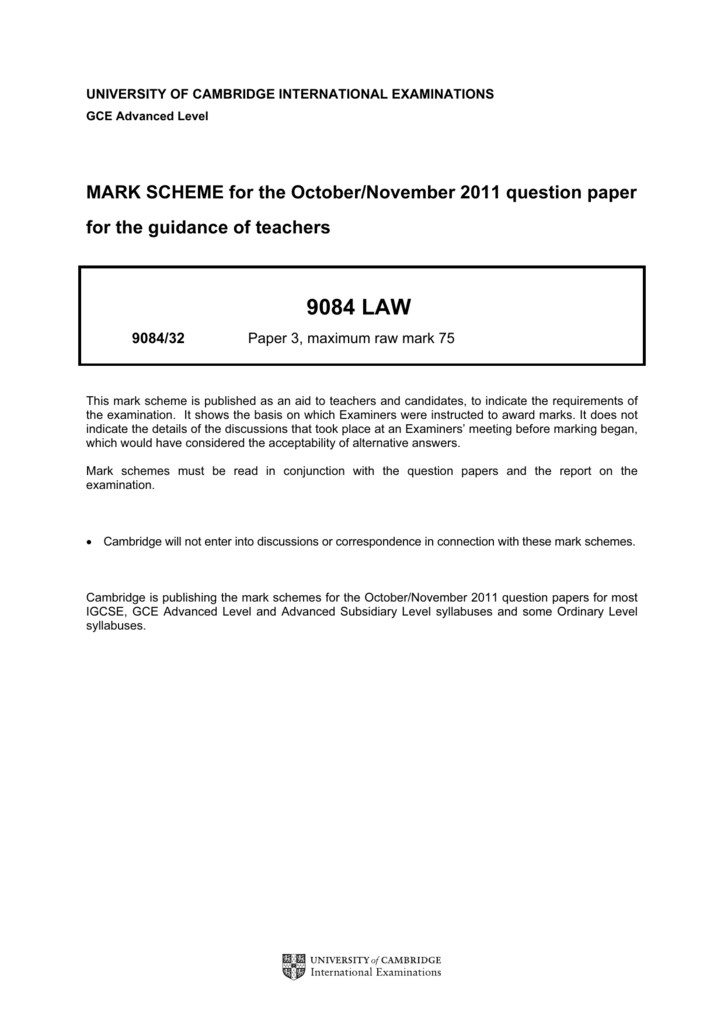 9084 LAW - Past Papers | GCE Guide