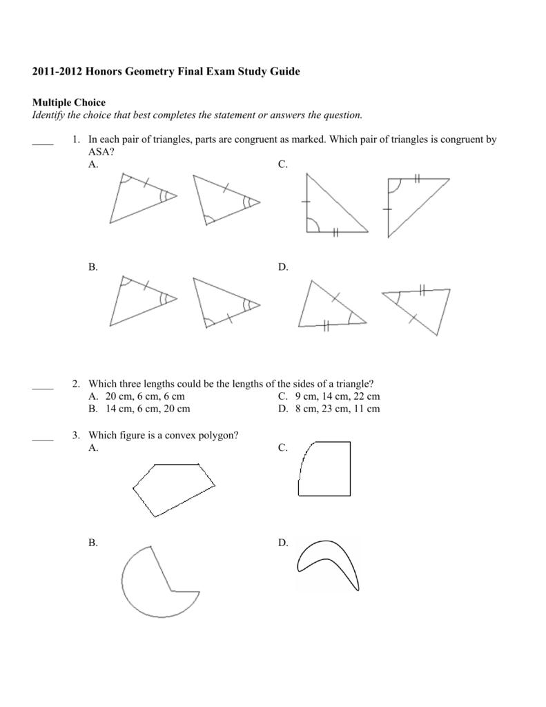 2011-2012 Honors Geometry Final Exam Study Guide
