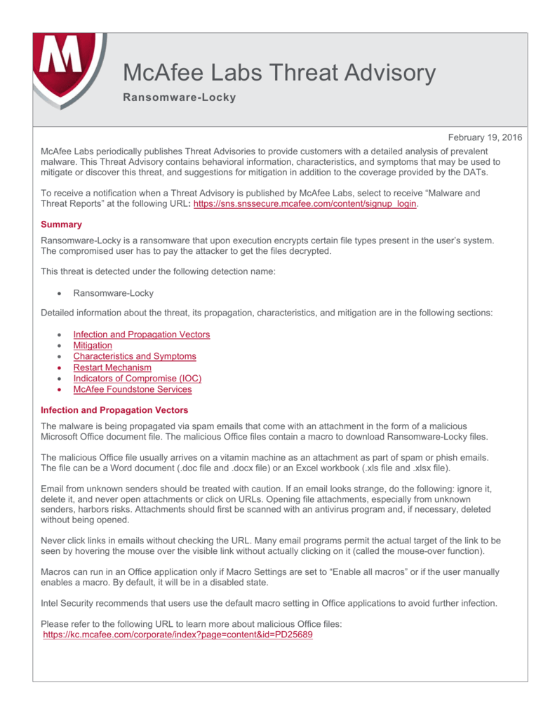 Threat Advisory - knowledge mcafee com