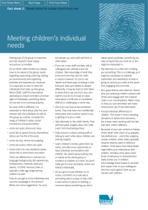 Meeting childrens' individual needs
