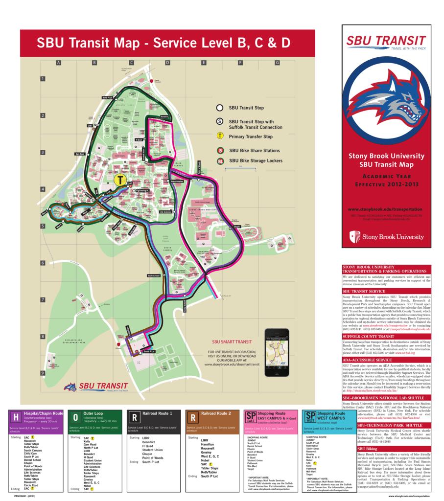 Sbu Academic Calendar.Sbu Transit Map Service Level B C D