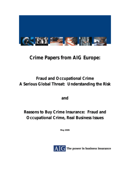 Crime Papers from AIG Europe: