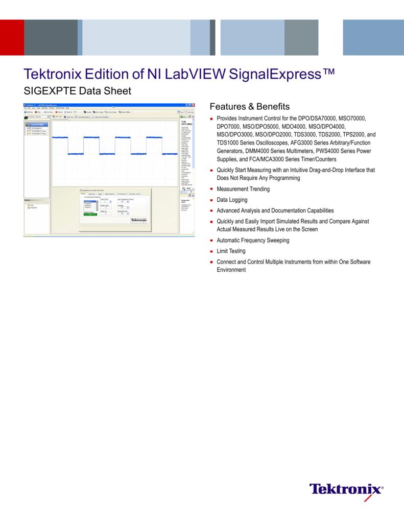 Tektronix Edition of NI LabVIEW SignalExpress