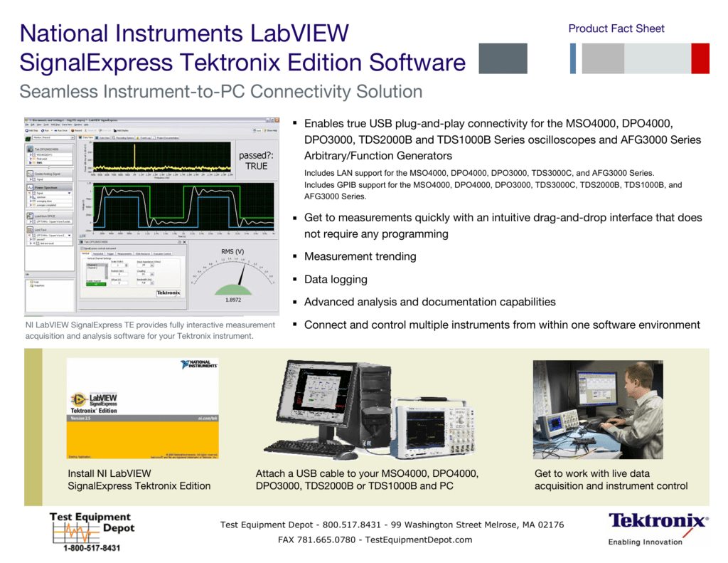 Benchtop measurements in seconds from ni and tektronix national.
