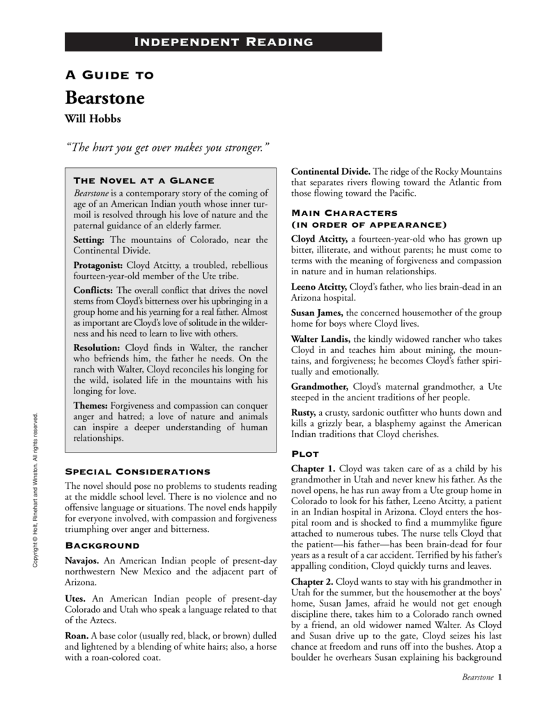 Bearstone chapters 1-10 quiz and key by middle school reading room.