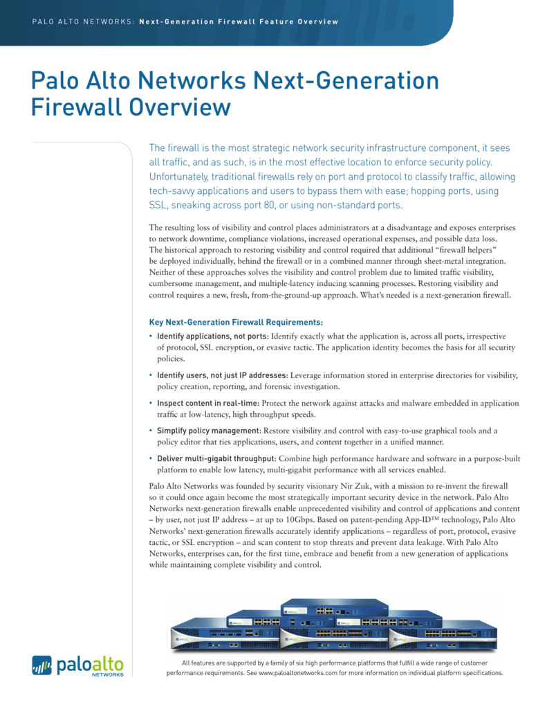 Palo Alto firewall Feature Overview