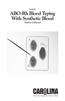 ABO-Rh Blood Typing Manual