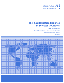 Thin Capitalization Regimes in Selected Countries