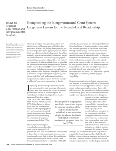 Strengthening the Intergovernmental Grant System