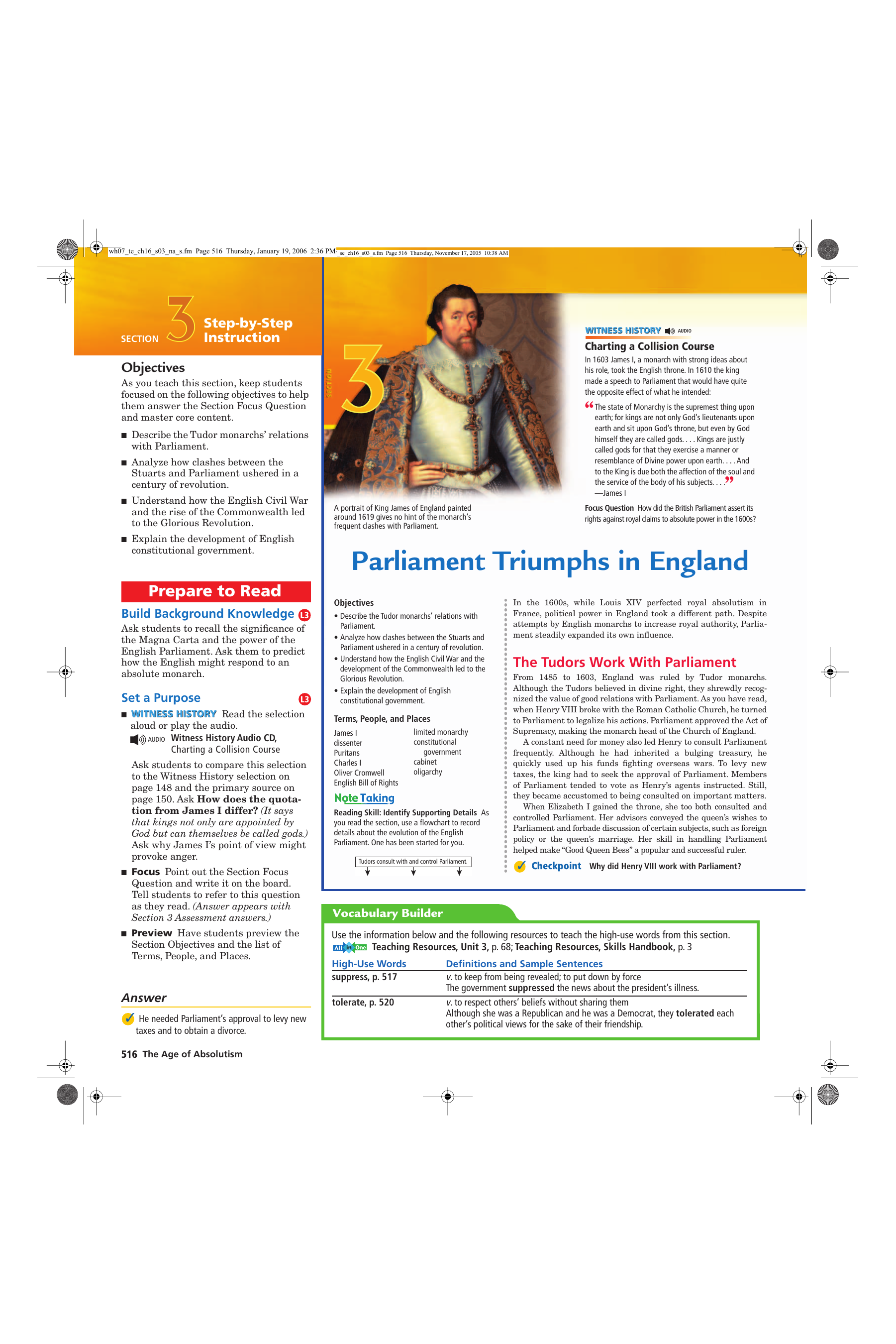 Parliament Triumphs In England