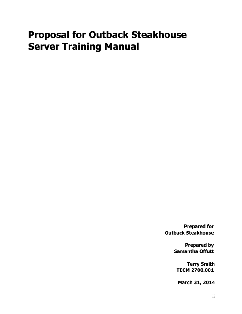 Proposal for Outback Steakhouse Server Training Manual