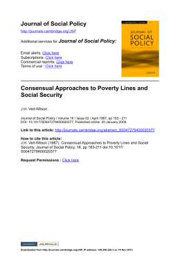 Consensual Approaches to Poverty Lines and Social Security Scales