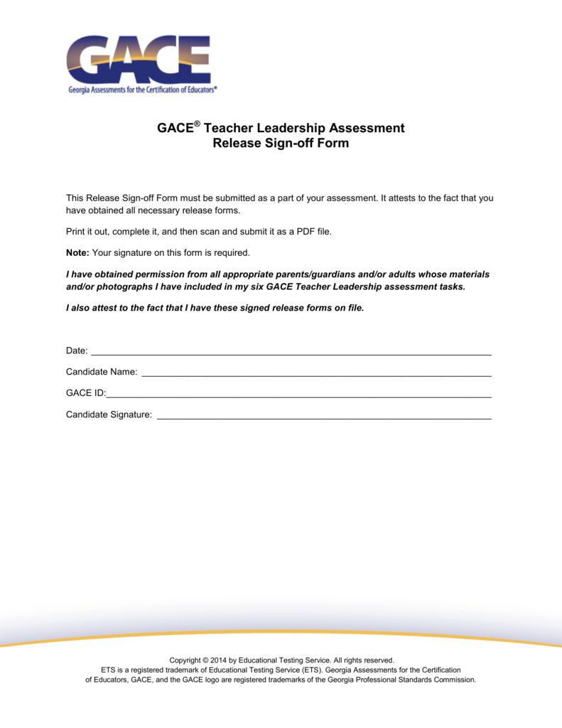 Gace teacher leadership assessment release sign off form xflitez Gallery