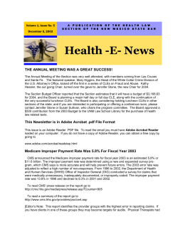 Fifth Edition, Health Law Section Newsletter