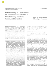 Whistleblowing in Organizations: An Examination of Correlates of