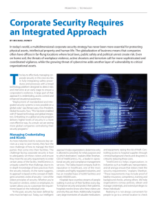 Corporate Security Requires an Integrated