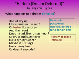 harlem what happens to a dream deferred