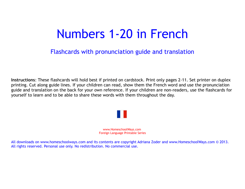 photograph regarding Printable French Flashcards titled French Figures 1-20
