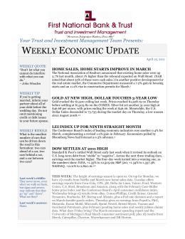 Weekly Economic Update - First National Bank & Trust