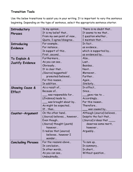 Transition Tools Introductory Phrases Introducing Evidence To