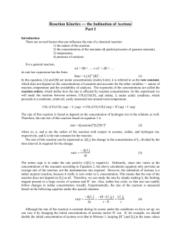 iodination of acetone 2 Official full-text paper (pdf): reaction kinetics of the iodination of acetone.