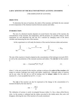 lab 8: kinetics of the reaction between acetone