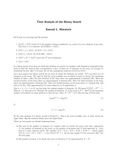 Time Analysis of the Binary Search Samuel L. Marateck