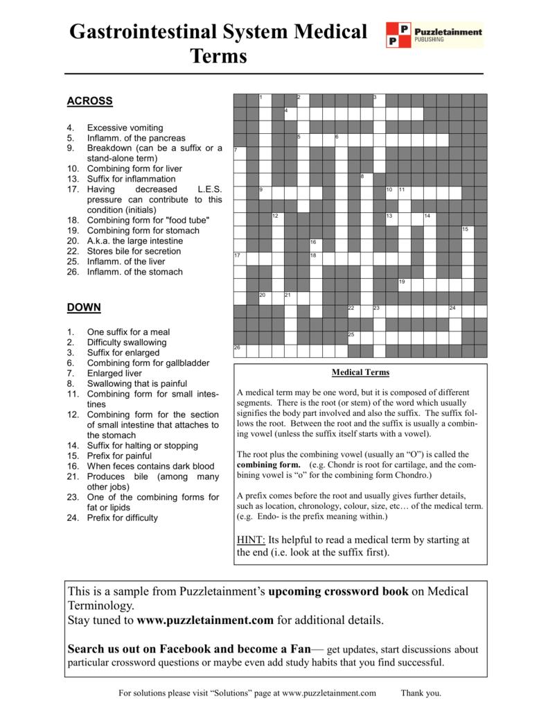 medical terminology crossword puzzle