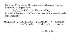 #29 When 84.8 g of iron (III) oxide reacts with excess of carbon