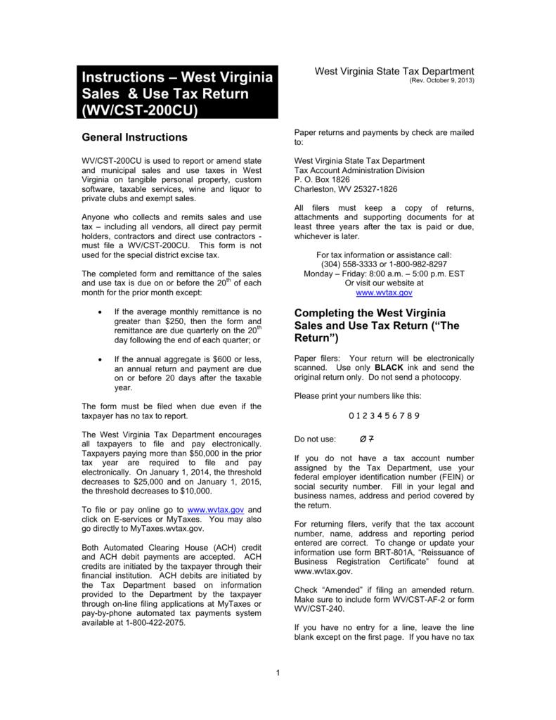 Virginia State Sales Tax >> Instructions West Virginia Sales Use Tax Return