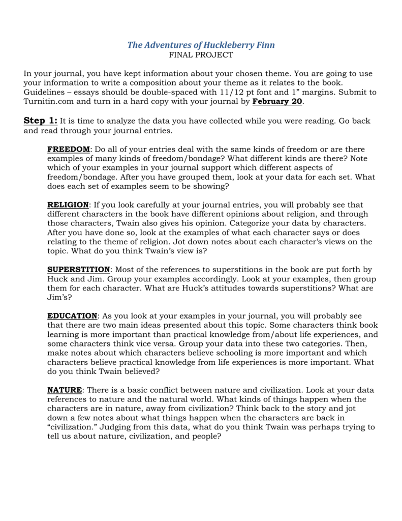 huck finn: freedom vs. civilization essay Explanation of the famous quotes in the adventures of huckleberry finn  huck's urges for freedom huck goes on to associate civilization and.
